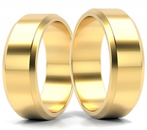 Pair of gold  wedding rings model FLAT BEVEL EDGE 6 mm
