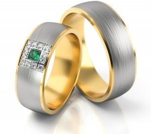 Pair of gold  wedding rings model 243