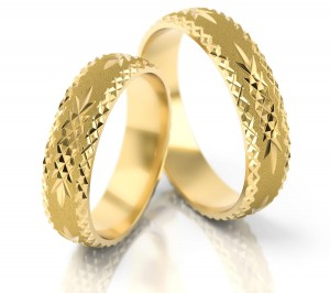 Pair of gold  wedding rings model 019