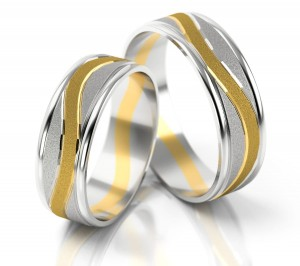 Pair of gold  wedding rings model 176