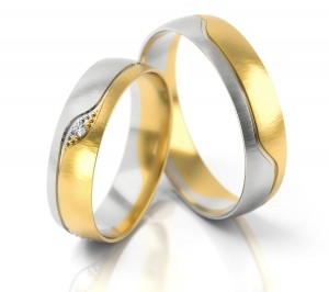 Pair of gold  wedding rings model 301