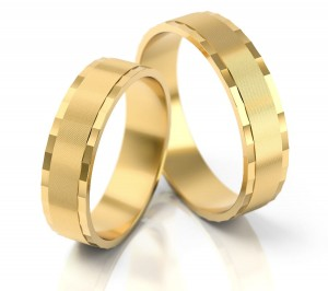 Pair of gold  wedding rings model 023