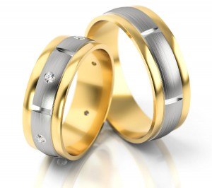 Pair of gold  wedding rings model 173