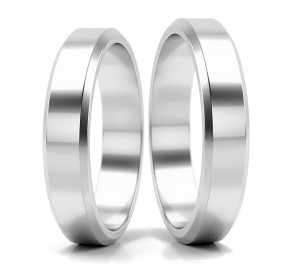 Pair of gold  wedding rings model FLAT BEVEL EDGE 4 mm
