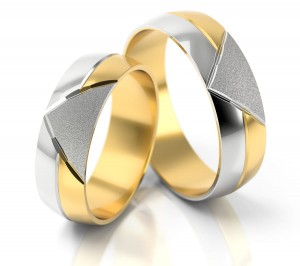 Pair of gold  wedding rings model 138