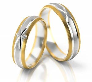 Pair of gold  wedding rings model 235
