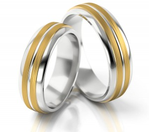 Pair of gold  wedding rings model 156