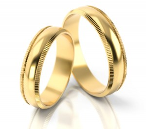 Pair of gold  wedding rings model 026