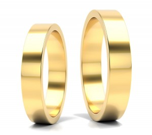 Pair of gold  wedding rings model FLAT  4 mm