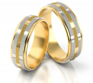 Pair of gold  wedding rings model 090