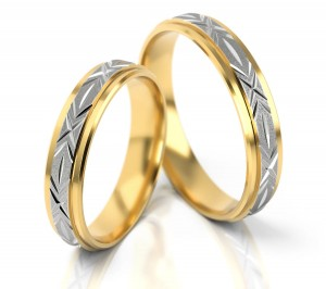 Pair of gold  wedding rings model 002