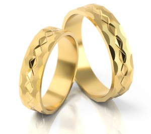 Pair of gold  wedding rings model 022