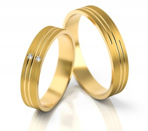 Pair of gold  wedding rings model 208