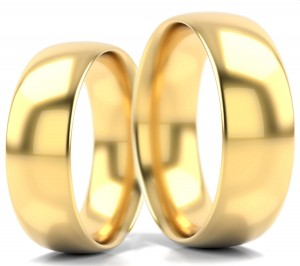 Pair of gold  wedding rings model D shape 6 mm