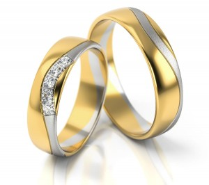 Pair of gold  wedding rings model 293