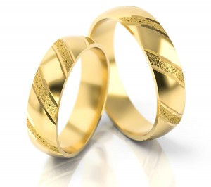Pair of gold  wedding rings model 021