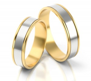 Pair of gold  wedding rings model 074