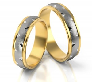 Pair of gold  wedding rings model 184