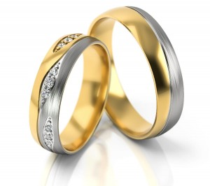 Pair of gold  wedding rings model 287