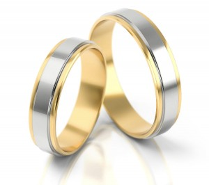 Pair of gold  wedding rings model 047