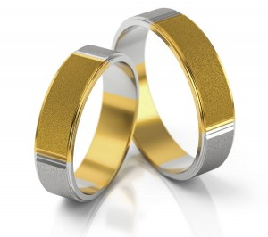 Pair of gold  wedding rings model 174