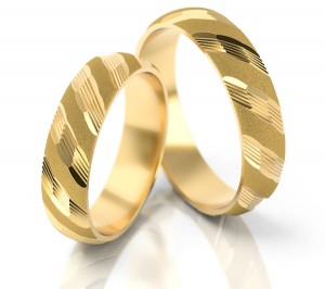 Pair of gold  wedding rings model 015