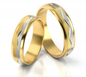 Pair of gold  wedding rings model 092