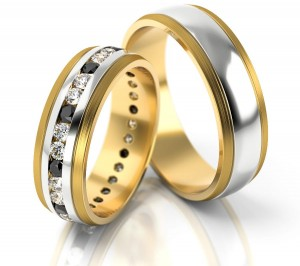 Pair of gold  wedding rings model 252