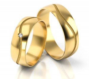Pair of gold  wedding rings model 286