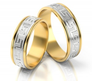 Pair of gold  wedding rings model 201