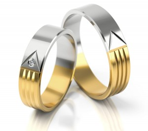 Pair of gold  wedding rings model 043