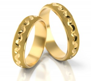 Pair of gold  wedding rings model 128