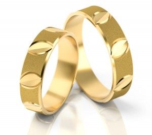 Pair of gold  wedding rings model 131