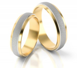 Pair of gold  wedding rings model 053
