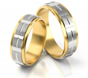 Pair of gold  wedding rings model 177