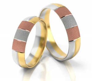 Pair of gold  wedding rings model 101