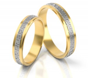 Pair of gold  wedding rings model 202