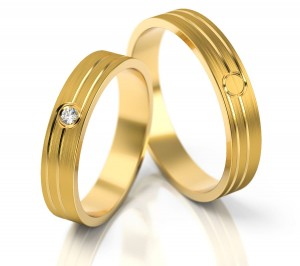 Pair of gold  wedding rings model 209
