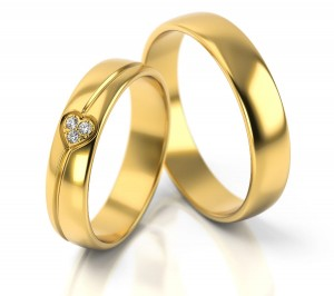 Pair of gold  wedding rings model 314