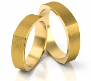 Pair of gold  wedding rings model 196