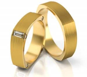 Pair of gold  wedding rings model 195