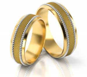 Pair of gold  wedding rings model 050