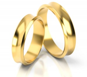 Pair of gold  wedding rings model 065