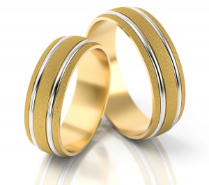 Pair of gold  wedding rings model 049