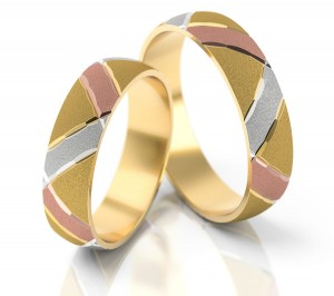 Pair of gold  wedding rings model 036