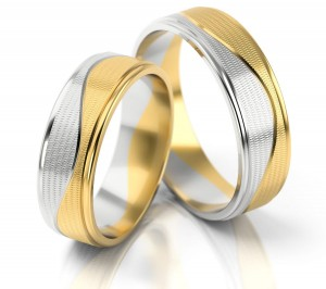 Pair of gold  wedding rings model 199