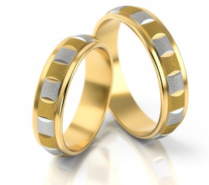 Pair of gold  wedding rings model 091