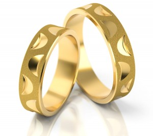 Pair of gold  wedding rings model 132