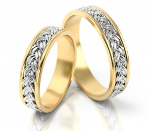 Pair of gold  wedding rings model 008