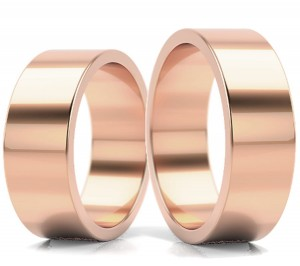 Pair of gold  wedding rings model FLAT 6 mm